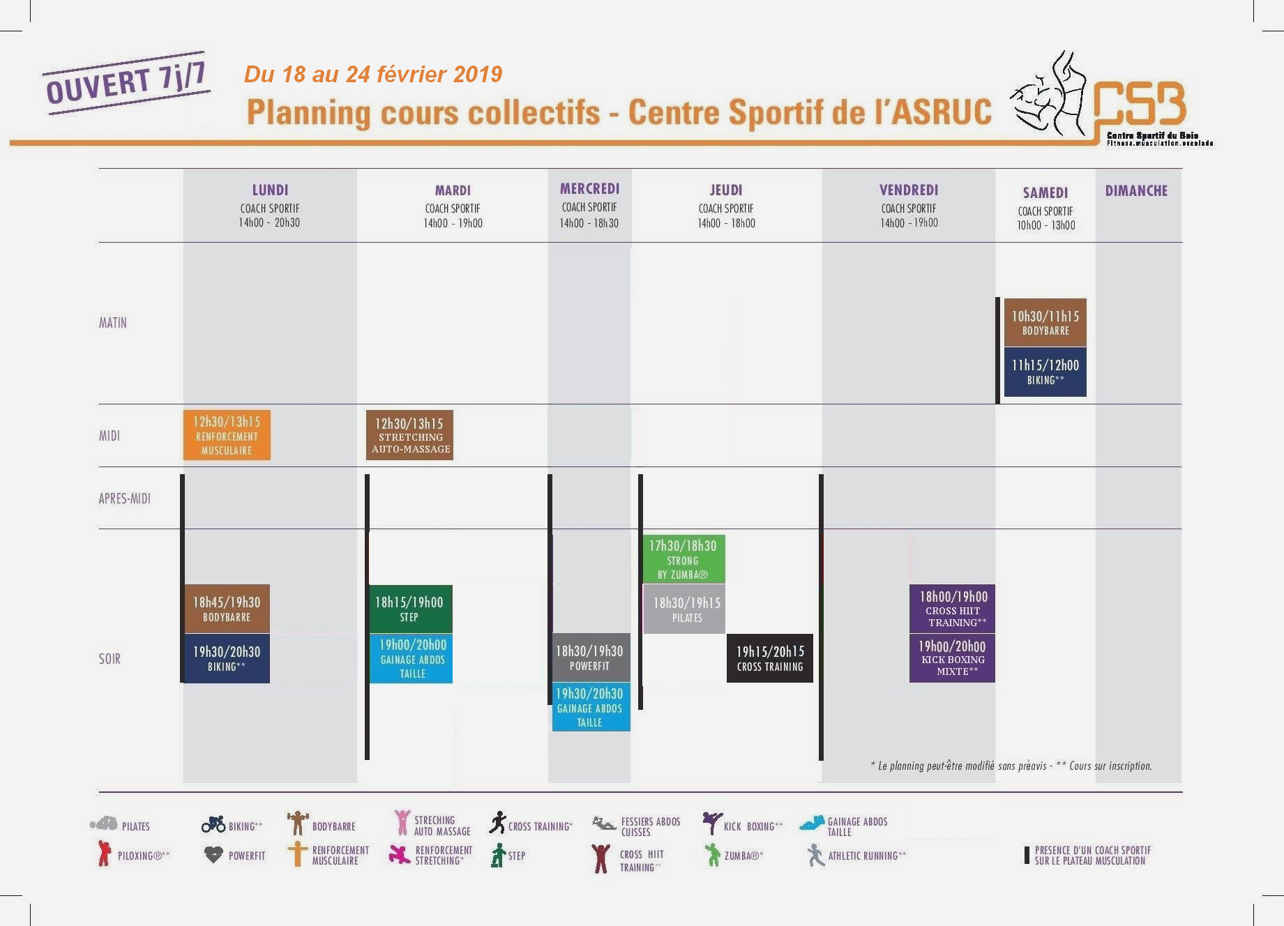 Planning cours co